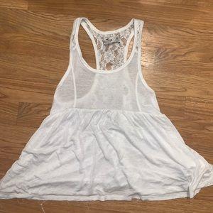 White tank top lace back